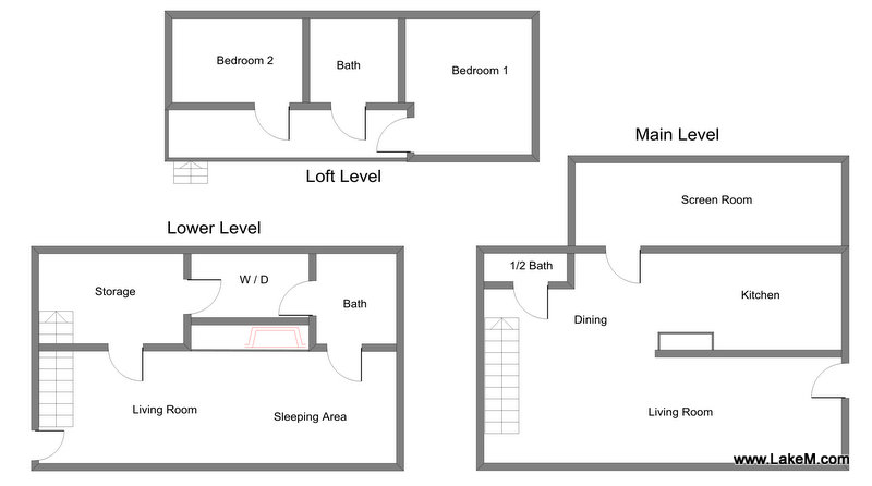 Floor Plan for Grand Haven Cottage Rental with Shared Private Beach!
