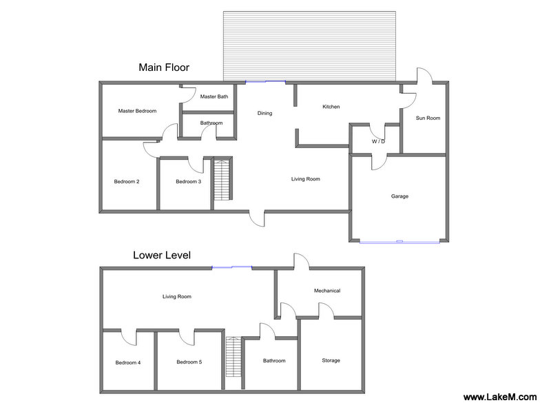 Floor Plan for  Vacation Rental within walking Distance to Shared Private Beach