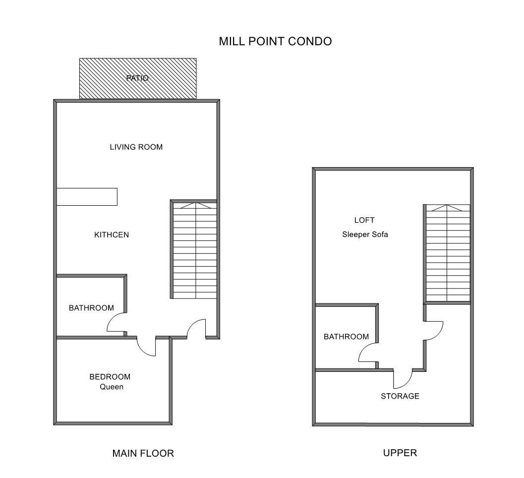 Floor Plan for Grand Haven Area Rental on Spring Lake with Pool Access!