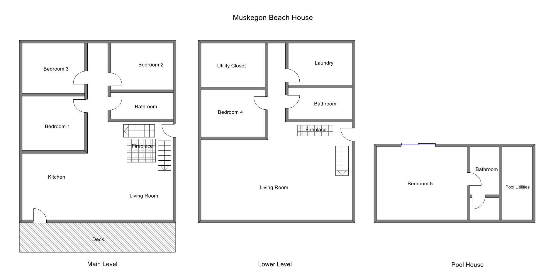 Floor Plan for Pool Oasis at the Beach Across the Street from Lake Michigan