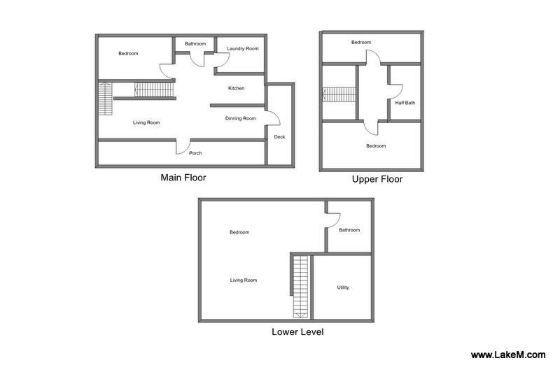 Floor Plan for Vacation Rental featuring views of Lake Michigan!